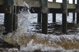 Wind Driven Wash Splashing the Pier